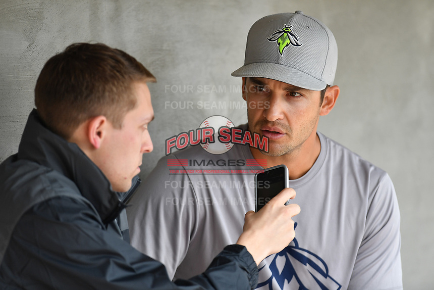 Manager Jose Leger (19) of the Columbia Fireflies is interviewed before a game against the Lexington Legends on Sunday, April 23, 2017, at Spirit Communications Park in Columbia, South Carolina. Lexington won, 4-2. (Tom Priddy/Four Seam Images)