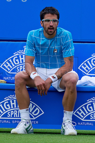 18.06.2011 Eastbourne, England Janko Tipsarevic of Serbia in action vs Andreas Seppi of Italy during mens finals 2011 Aegon Tennis  International Tournament at  Eastbourne...