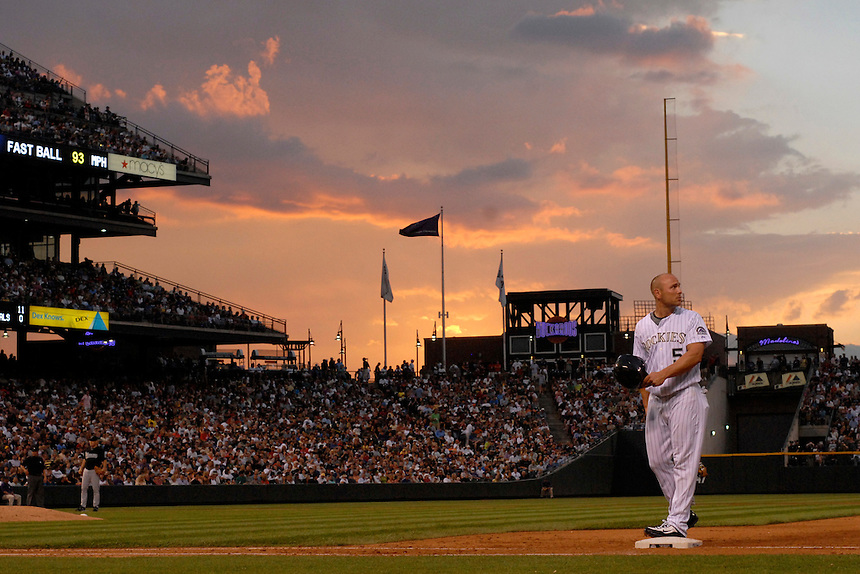 03 July 2008: Colorado Rockies outfielder Matt Holliday stands on first base in front of 48,084 fans in attendance at Coors Field in Denver Colorado during a game against the Florida Marlins. The Rockies defeated the Marlins 6-5 in 11 innings. FOR EDITORIAL USE ONLY. FOR EDITORIAL USE ONLY