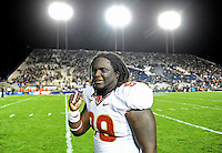 Sept. 19, 2009; Provo, UT, USA; Florida State Seminoles defensive tackle Jacobbi McDaniel celebrates following the game against the BYU Cougars at LaVell Edwards Stadium. Florida State defeated BYU 54-28. Mandatory Credit: Mark J. Rebilas-