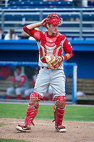 Williamsport Crosscutters catcher Logan Moore #10 during a NY-Penn League game against the Batavia Muckdogs at Dwyer Stadium on August 12, 2012 in Batavia, New York.  Batavia defeated Williamsport 7-2.  (Mike Janes/Four Seam Images)