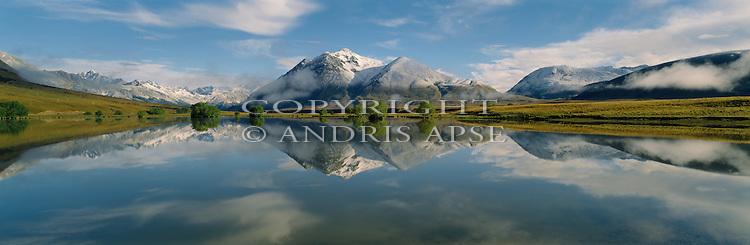 Small calm lake in the Ahuriri Valley. Canterbury Region. New Zealand.
