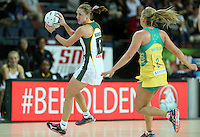 27.08.2016 South Africa's Erin Burger in action during the Netball Quad Series match between South Africa and Australia at Vector Arena in Auckland. Mandatory Photo Credit ©Michael Bradley.