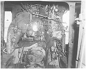 Detail cab interior of K-36 #487.<br /> D&amp;RGW    1964