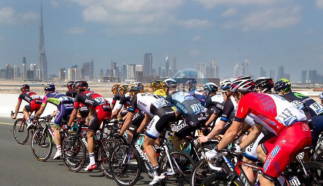 Dubai city skyline during Stage 2 The Sport Stage of the inaugural Dubai Tour 2014 in the Dubai World Trade Centre, Dubai. 6th February 2014.<br /> Picture: ANSA/Peri-Carconi/ www.newsfile.ie