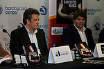 """Ex bastekball player Carmelo Cabrera and the writter of the book Jose Luis Hernandez Torres during the presentation of the book """"Carmelo Cabrera, El globertrotter blanco"""" at Barclaycard Center in Madrid, March 01, 2016<br /> (ALTERPHOTOS/BorjaB.Hojas"""