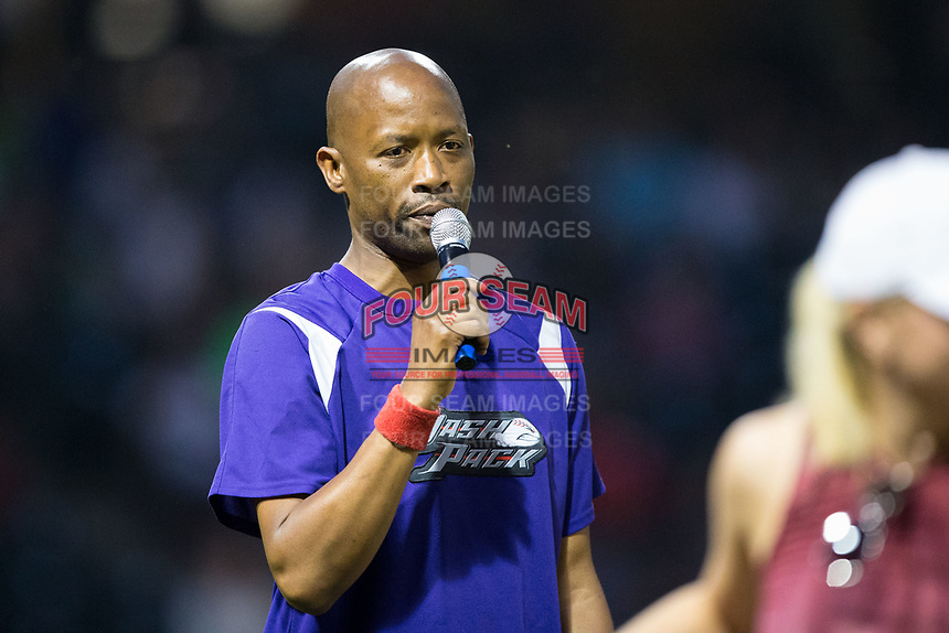 Winston-Salem Dash Entertainment Host JJ Johnson emcees a between innings contest during the Carolina League game between the Myrtle Beach Pelicans and the Winston-Salem Dash at BB&T Ballpark on May 11, 2017 in Winston-Salem, North Carolina.  The Pelicans defeated the Dash 9-7.  (Brian Westerholt/Four Seam Images)
