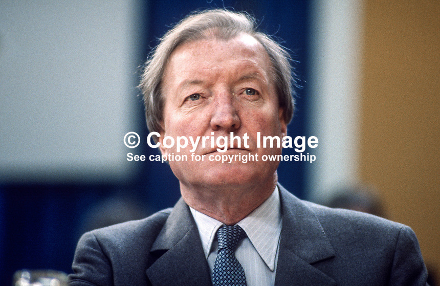 Charles Haughey, TD, leader, Fianna Fail, opposition party, Rep of Ireland, photographed at April 1984 Ard Fheis i.e. party conference, 19840048CH3.<br />
