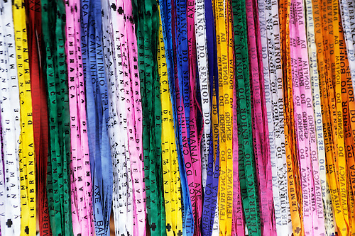 Salvador, Bahia, Brazil. Lucky ribbons from Senhor do Bonfim and Cantinho de Iemanja; Festival of Iemanja.