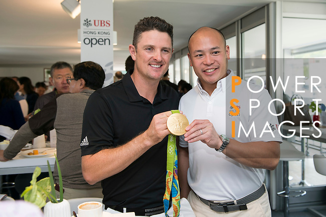 Justin Rose of England in the UBS Pavilion on the sidelines of the Pro-Am tournament during the 58th UBS Hong Kong Open as part of the European Tour on 07 December 2016, at the Hong Kong Golf Club, Fanling, Hong Kong, China. Photo by Marcio Rodrigo Machado / Power Sport Images