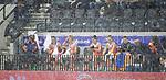 AMSTERDAM - AMSTELVEEN - de bank van Oranje tijdens de regen Rabo EuroHockey Championships 2017, Hockey, Seizoen 2016-2017, 05-06-14, EK 2017 Amsterdam, Wagener Stadion Amsterdam, Dames, Women, Nederland - Spanje . COPYRIGHT KOEN SUYK