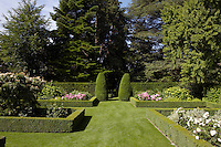 Flowerbeds framed with low box hedges are a feature of the manicured garden
