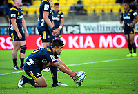 Highlanders' Josh Ioane lines up a penalty attempt during the Super Rugby match between the Hurricanes and Highlanders at Westpac Stadium in Wellington, New Zealand on Friday, 1 March 2019. Photo: Dave Lintott / lintottphoto.co.nz