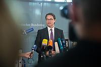 In einer nichtoeffentlichen Sondersitzung des Bundestagsausschuss fuer Verkehr und digitale Infrastruktur, am Mittwoch den 24. Juli 2019, berichtete Bundesverkehrsminister Andreas Scheuer (CSU) (im Bild) dem Ausschuss ueber Vertragsinhalte und moegliche Schadensersatzansprueche im Hinblick auf Kuendigungen von Vertraegen zur Infrastrukturabgabe (MAUT) in Folge des Urteils des Europaeischen Gerichtshofs (EuGH). Das Verkehrsministerium hatte, noch bevor die Einfuehrung der MAUT rechtsgueltig haette werden koenne, millionenschwere Vertraege mit Firmen abgeschlossen.<br /> 24.7.2019, Berlin<br /> Copyright: Christian-Ditsch.de<br /> [Inhaltsveraendernde Manipulation des Fotos nur nach ausdruecklicher Genehmigung des Fotografen. Vereinbarungen ueber Abtretung von Persoenlichkeitsrechten/Model Release der abgebildeten Person/Personen liegen nicht vor. NO MODEL RELEASE! Nur fuer Redaktionelle Zwecke. Don't publish without copyright Christian-Ditsch.de, Veroeffentlichung nur mit Fotografennennung, sowie gegen Honorar, MwSt. und Beleg. Konto: I N G - D i B a, IBAN DE58500105175400192269, BIC INGDDEFFXXX, Kontakt: post@christian-ditsch.de<br /> Bei der Bearbeitung der Dateiinformationen darf die Urheberkennzeichnung in den EXIF- und  IPTC-Daten nicht entfernt werden, diese sind in digitalen Medien nach §95c UrhG rechtlich geschuetzt. Der Urhebervermerk wird gemaess §13 UrhG verlangt.]