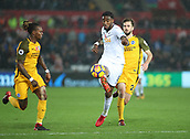 4th November 2017, Liberty Stadium, Swansea, Wales; EPL Premier League football, Swansea City versus Brighton and Hove Albion; Leroy Fer of Swansea City plays the ball forward