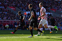 Liverpool's Philippe Coutinho scores his sides first goal  <br /> <br /> Photographer Terry Donnelly/CameraSport<br /> <br /> The Premier League - Stoke City v Liverpool - Saturday 8th April 2017 - bet365 Stadium - Stoke-on-Trent<br /> <br /> World Copyright &copy; 2017 CameraSport. All rights reserved. 43 Linden Ave. Countesthorpe. Leicester. England. LE8 5PG - Tel: +44 (0) 116 277 4147 - admin@camerasport.com - www.camerasport.com