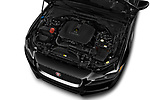Car Stock 2017 Jaguar XE - 4 Door Sedan Engine  high angle detail view