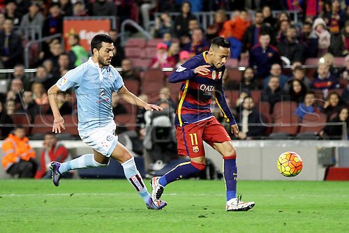 14.02.2016. Nou Camp, Barcelona, Spain. La Liga. Barcelona versus Celta de Vigo. Neymar runs through to score his goal.