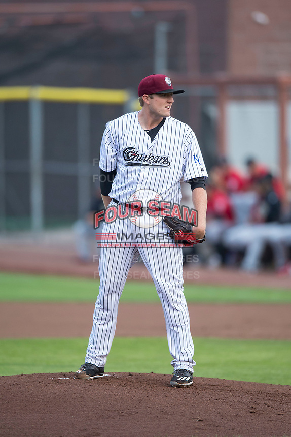 Idaho Falls Chukars starting pitcher C.J. Eldred (33) looks in for the sign during a Pioneer League game against the Billings Mustangs at Melaleuca Field on August 22, 2018 in Idaho Falls, Idaho. The Idaho Falls Chukars defeated the Billings Mustangs by a score of 5-3. (Zachary Lucy/Four Seam Images)