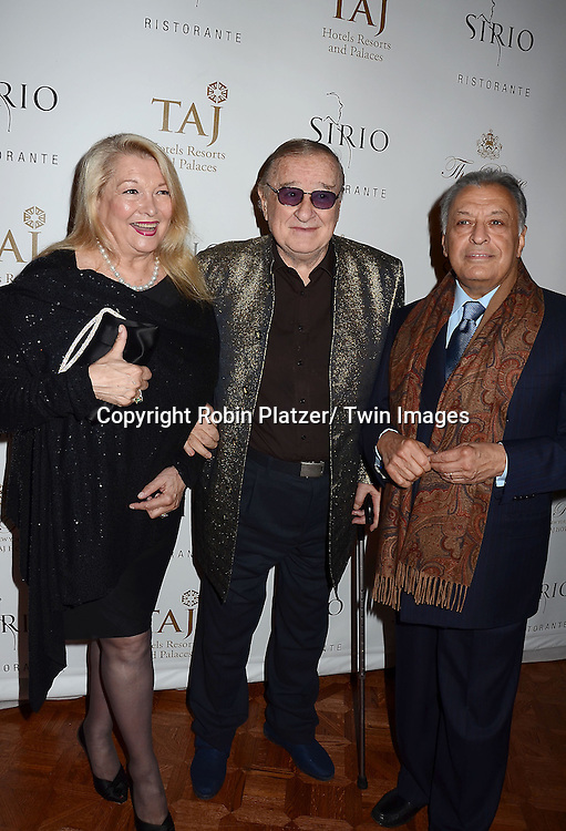 Nancy and Zubin Mehta and Sirio Maccioni attend the Sirio Ristorante New York opening in the Pierre Hotel, a TAJ Hotel on October 24, 2012 in New York City. Sirio Maccioni hosted the party