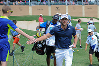 Andrew Loupe (USA) shakes hands with fans after sinking his eagle putt on 18 during round 2 of the Valero Texas Open, AT&amp;T Oaks Course, TPC San Antonio, San Antonio, Texas, USA. 4/21/2017.<br /> Picture: Golffile | Ken Murray<br /> <br /> <br /> All photo usage must carry mandatory copyright credit (&copy; Golffile | Ken Murray)