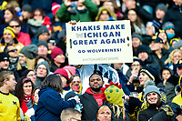 College Park, MD - NOV 11, 2017: Michigan Wolverines fan hold up a funny sign during game between Maryland and Michigan at Capital One Field at Maryland Stadium in College Park, MD. (Photo by Phil Peters/Media Images International)