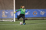 SALEM, VA - DECEMBER 3:Lizzy Crist (0) clears the ball during theDivision III Women's Soccer Championship held at Kerr Stadium on December 3, 2016 in Salem, Virginia. Washington St Louis defeated Messiah 5-4 in PKs for the national title. (Photo by Kelsey Grant/NCAA Photos)