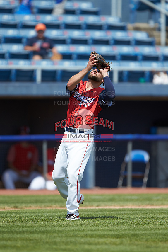 San Bernardos de Salem third baseman Nick Lovullo (6) settles under a pop fly during the game against the Winston-Salem Dash at Haley Toyota Field on June 30, 2019 in Salem, Virginia. The Dash defeated the San Bernardos 3-2. (Brian Westerholt/Four Seam Images)