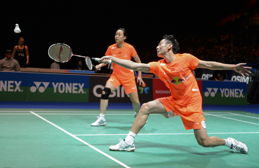 Nan ZHANG [5] [CHN] and Yunlei ZHAO [CHN] in action today during their victory over Muhammad RIJAL [7] [INA] and Debby SUSANTO [INA] in their Mixed Doubles Semi final match. Nan ZHANG [5] [CHN] and Yunlei ZHAO [CHN] bt Muhammad RIJAL [7] [INA] and Debby SUSANTO [INA]  21-17 21-16...BWF -  2013 Yonex All England Badminton Championships Super Series Premier - The National Indoor Arena - Birmingham - England - Saturday 09th March 2013..© CameraSport - 43 Linden Ave. Countesthorpe. Leicester. England. LE8 5PG - Tel: +44 (0) 116 277 4147 - admin@camerasport.com - www.camerasport.com