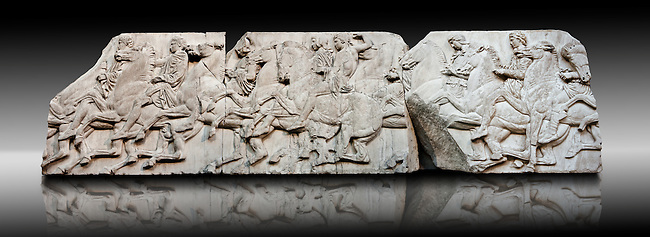 Marble Releif Sculptures from the frieze around the Parthenon Block XLII to XLIV 115 to 124  . From the Parthenon of the Acropolis Athens. A British Museum Exhibit known as The Elgin Marbles
