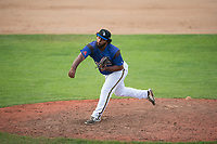 Missoula Osprey starting pitcher Mailon Arroyo (47) follows through on his delivery during a Pioneer League game against the Orem Owlz at Ogren Park Allegiance Field on August 19, 2018 in Missoula, Montana. The Missoula Osprey defeated the Orem Owlz by a score of 8-0. (Zachary Lucy/Four Seam Images)
