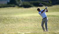 Ex-Footballer Andriy Shevchenko of Ukraine hits an approach during Round 1 of the 2015 Alfred Dunhill Links Championship at the Old Course, St Andrews, in Fife, Scotland on 1/10/15.<br /> Picture: Richard Martin-Roberts | Golffile
