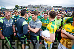 Kerry Manager Eamonn Fitzmaurice and his Players celebrate their victory over Cork in the Munster Senior Football Final at Fitzgerald Stadium on Sunday.