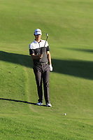 Justin Rose (ENG) prepares to play his 2nd shot on the 18th hole during Thursday's Round 1 of the 2018 Turkish Airlines Open hosted by Regnum Carya Golf &amp; Spa Resort, Antalya, Turkey. 1st November 2018.<br /> Picture: Eoin Clarke | Golffile<br /> <br /> <br /> All photos usage must carry mandatory copyright credit (&copy; Golffile | Eoin Clarke)
