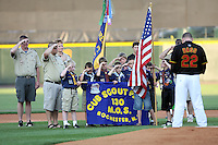 August 24 2008: The Boy Scouts on the field for the national anthem before a game at Frontier Field in Rochester, NY.  Photo by:  Mike Janes/Four Seam Images