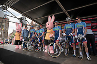 Niki Terpstra (NED/Total - Direct Energie) & team Total Direct Energie on the sign-on podium<br /> <br /> Dwars door het Hageland 2019 (1.1)<br /> 1 day race from Aarschot to Diest (BEL/204km)<br /> <br /> ©kramon