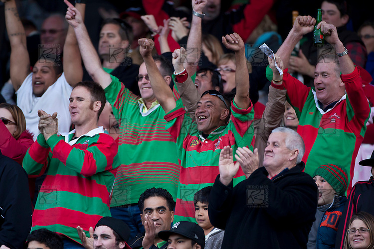 Waiuku supporters stand to applaud their team. Counties Manukau McNamara Cup Premier Club Rugby final between Pukekohe andWaiuku, held at Bayer Growers Stadium, on Saturday July 17th. Waiuku won 25 - 20.