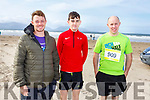 Ready for the Inch Half Marathon on Inch Beach on Sunday morning. L-r, Maurice Kelter (Tralee), Conor Mullane (Abbeyfeale) and Patrick Collins (Abbeyfeale).
