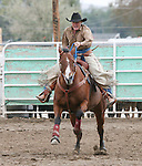 Karen Goemmer races to the finish in the ladies barrel racing 60+ age division.