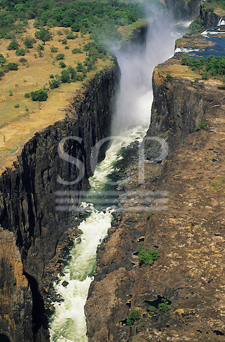 Victoria falls, Zambia, Africa. Aerial view over the chasm at the falls.