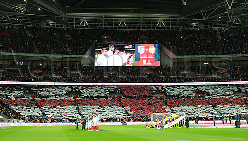29.03.2016. Wembley Stadium, London, England.  International Football Friendly England versus Netherlands. As the English National Anthem is sung, the crowd form the St Georges Cross