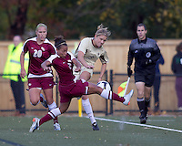Florida State defender/midfielder Ines Jaurena (2) blocks clearing pass by Boston College forward Kristen Mewis (19). Florida State University defeated Boston College, 1-0, at Newton Soccer Field, Newton, MA on October 31, 2010.