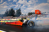 Aug. 2, 2014; Kent, WA, USA; NHRA top fuel driver Mike Salinas during qualifying for the Northwest Nationals at Pacific Raceways. Mandatory Credit: Mark J. Rebilas-USA TODAY Sports