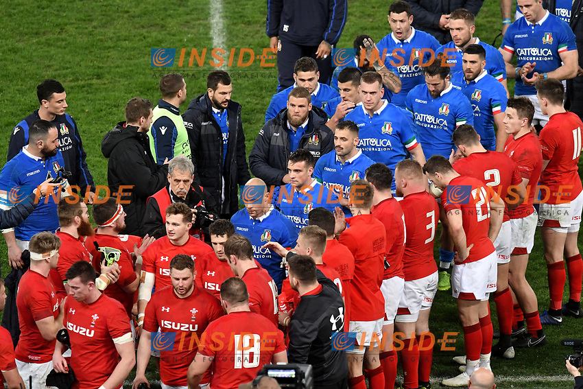 Wales players salute italian players at the end of the match <br /> Roma 9-02-2019 Stadio Olimpico<br /> Rugby Six Nations tournament 2019  <br /> Italy - Wales <br /> Foto Andrea Staccioli / Resini / Insidefoto
