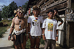 LOGGING & INDIGENOUS DAYAKS, MALAYSIA. Sarawak, Borneo, South East Asia.  Along Sega (lhs) Penan, Kelabit Jangin Taibilung, and Penan Aweng, all three activists fighting for landrights issues in the face of commercial logging, 1989 <br />