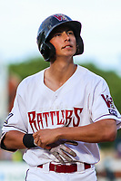 Wisconsin Timber Rattlers first baseman Ryan Aguilar (21) during game one of a Midwest League doubleheader against the Kane County Cougars on June 23, 2017 at Fox Cities Stadium in Appleton, Wisconsin.  Kane County defeated Wisconsin 4-3. (Brad Krause/Krause Sports Photography)