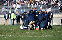 STATE COLLEGE, PA - NOVEMBER 11: Athletic trainers examine Penn State QB Trace McSorley (9) after he took a hard hit and didn't get up from the field. The Penn State Nittany Lions vs. the Wisconsin Badgers on November 11, 2018 at Beaver Stadium in State College, PA. (Photo by Randy Litzinger/Icon Sportswire)
