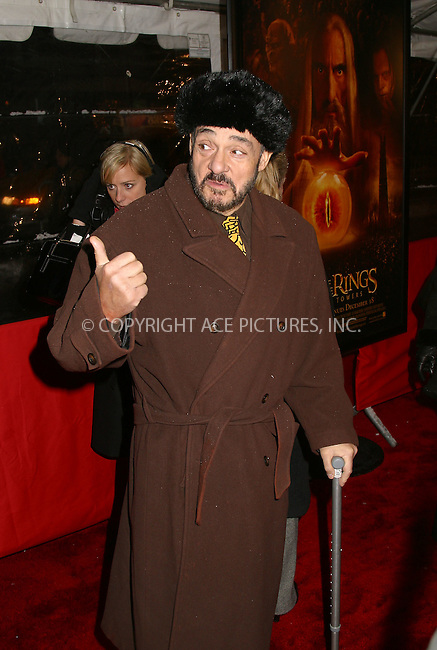 John Rhys-Davies at the World Premiere of The Lord of the Rings: The Two Towers. New York, December 5, 2002...Please byline: Alecsey Boldeskul/NY Photo Press.   ..*PAY-PER-USE*      ....NY Photo Press:  ..phone (646) 267-6913;   ..e-mail: info@nyphotopress.com