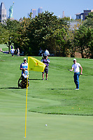 Charl Schwartzel (RSA) chips on to 5 during round 1 foursomes of the 2017 President's Cup, Liberty National Golf Club, Jersey City, New Jersey, USA. 9/28/2017.<br /> Picture: Golffile   Ken Murray<br /> ll photo usage must carry mandatory copyright credit (&copy; Golffile   Ken Murray)