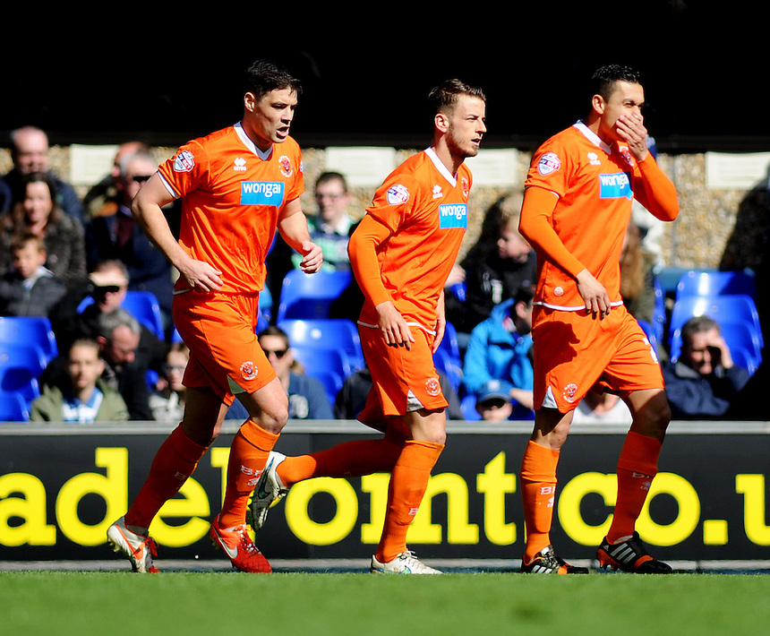GOAL CELEBRATION - Blackpool's Andrea Orlandi (centre) celebrates scoring his sides first goal <br /> <br /> Photographer Kevin Barnes/CameraSport<br /> <br /> Football - The Football League Sky Bet Championship - Ipswich Town v  Blackpool - Saturday 11th April 2015 - Portman Road - Ipswich<br /> <br /> &copy; CameraSport - 43 Linden Ave. Countesthorpe. Leicester. England. LE8 5PG - Tel: +44 (0) 116 277 4147 - admin@camerasport.com - www.camerasport.com
